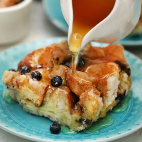 French Toast Casserole is sweet, flavorful, and hassle-free! Make it overnight for a great breakfast the next morning! It is perfect for a crowd! #casserole #frenchtoast #breakfast #brunch #christmas #sweetandsavorymeals