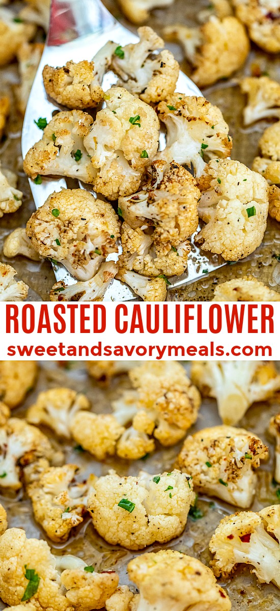 This Roasted Cauliflower recipe gives the veggie a lift in terms of flavors and texture! Prepare this side dish in under 20 minutes with this easy recipe! #cauliflower #sidedish #vegetarian #sweetandsavorymeals #healthyrecipes
