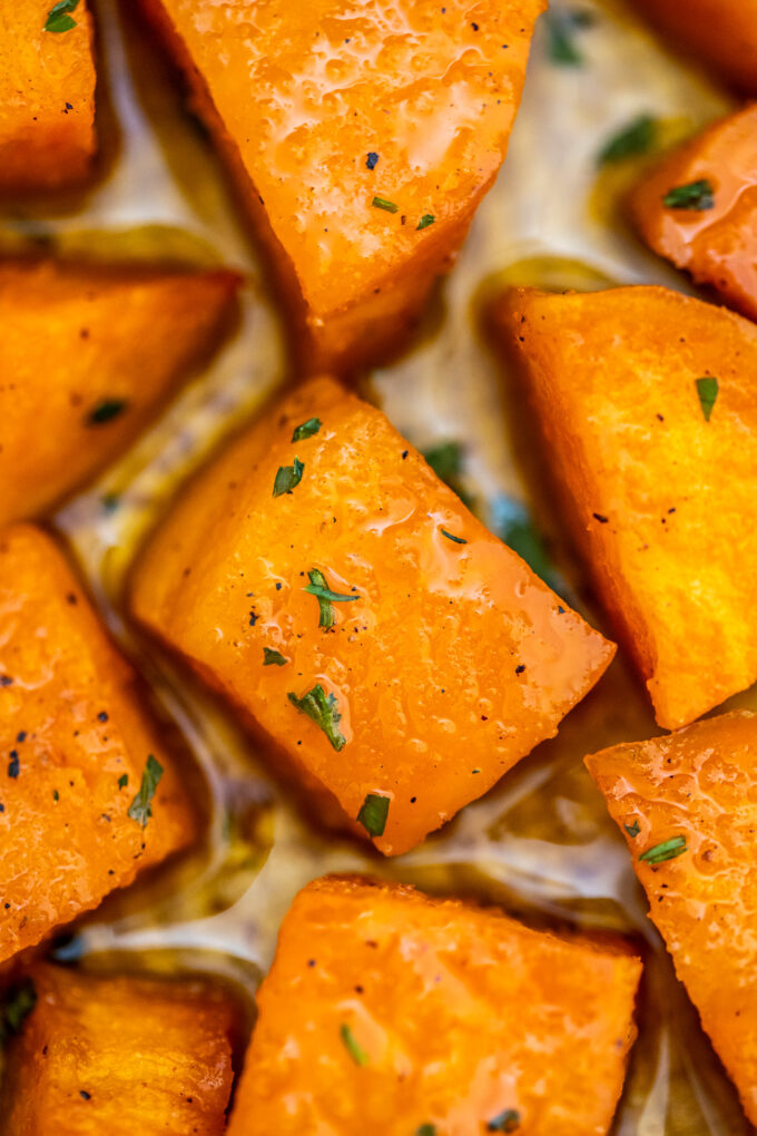 Roasted Sweet Potatoes are crispy on the outside and tender on the inside! Cooking this dish will only take 30 minutes making this a great dinner staple! #sidedish #sweetpotatoes #roastedsweetpotatoes #thanksgiving #sweetandsavorymeals