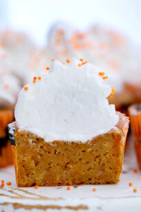 Sweet Potato Pie Cupcakes are the perfect seasonal dessert for fall parties and Thanksgiving! The cupcakes are moist and full of fall flavors and spices! #sweetpotatoes #cupcakes #sweetpotatopie #thanksgiving #sweetandsavorymeals