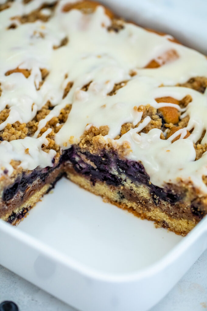 Blueberry Coffee Cake is such an ideal coffee companion for its perfect tango of sweetness and sourness. #coffeecake #brunch #breakfast #blueberries #sweetandsavorymeals
