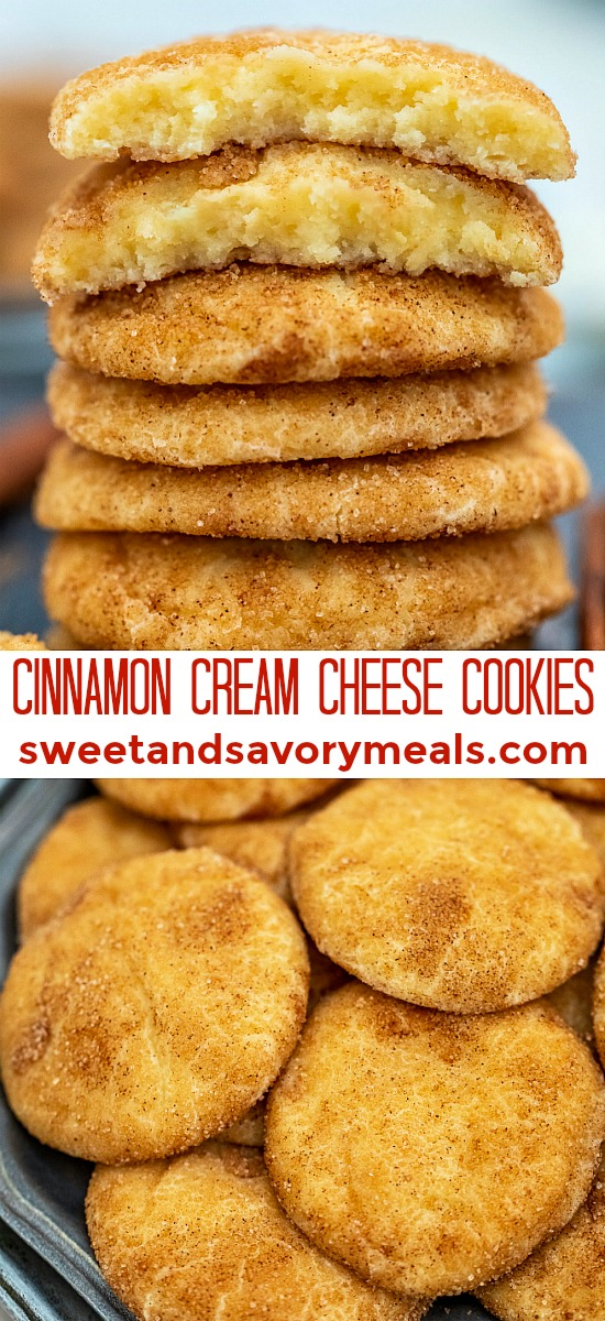 Cinnamon Cream Cheese Cookies are soft, chewy, and irresistible! Celebrate the holidays with these snickerdoodles that will surely be a crowd-pleaser! #cookies #christmas #snickerdoodles #sweetandsavorymeals #creamcheesecookies