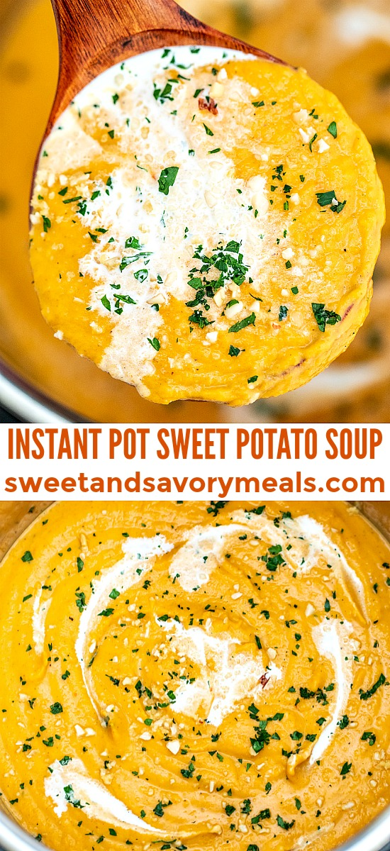 Instant Pot Sweet Potato Soup perfectly fits everybody's menu! It is creamy, hearty, and full of autumn flavors! Make it hassle-free with this recipe! #sweetpotatoes #sweetpotatosoup #souprecipes #pressurecooker #instantpot #sweetandsavorymeals