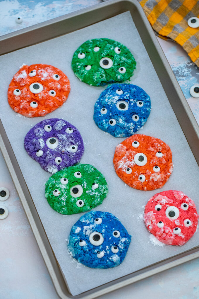 Monster Cookies are very fun to make, look colorful and are perfect for Halloween! #monstercookies #cookies #halloween #desserts #sweetandsavorymeals