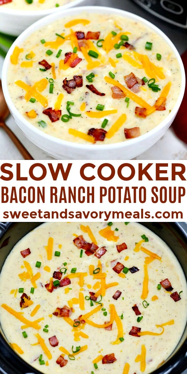 easy slow cooker bacon ranch potato soup pin