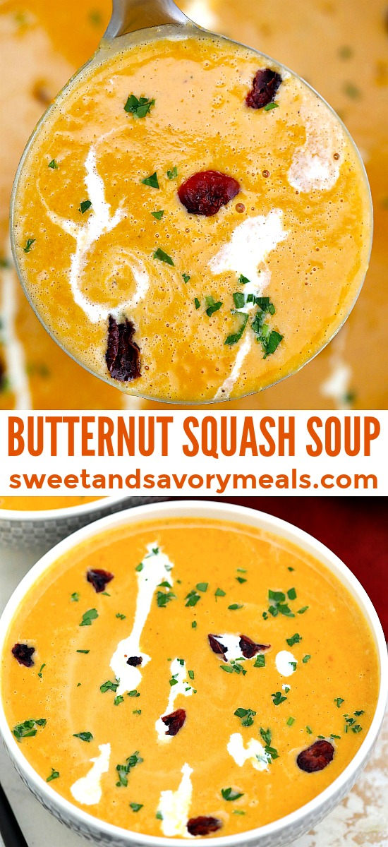 Easy Butternut Squash Soup is rich, creamy, full of flavor and satisfying! #soup #butternutsquash #souprecipes #sweetandsavorymeals #fallrecipes