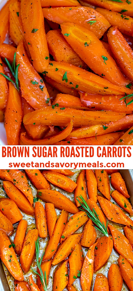 Roasted Carrots make for a quick, tasty, and healthier side dish that is sweet and tender using only a few ingredients you already have in your pantry! #carrots #roastedcarrots #sidedish #thanksgiving #sweetandsavorymeals