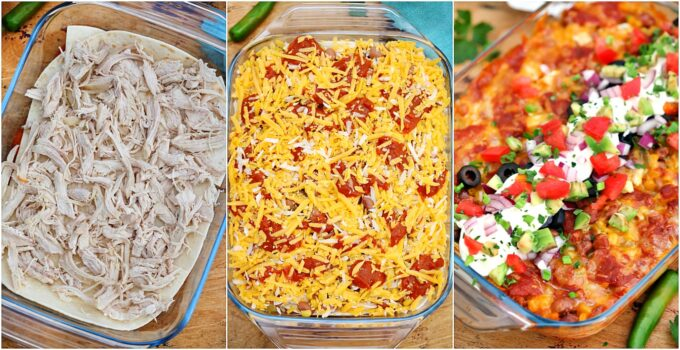Chicken Enchilada Casserole has all the Mexican flavors of the enchilada minus the long prep time! #chicken #casserole #chickencasserole #chickenenchilada #sweetandsavorymeals
