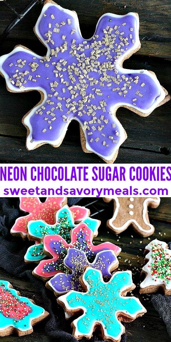 easy neon chocolate sugar cookies