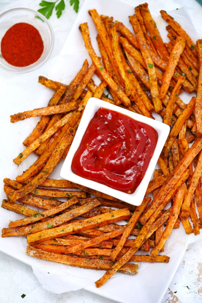 Oven roasted sweet potato fries and ketchup photo.
