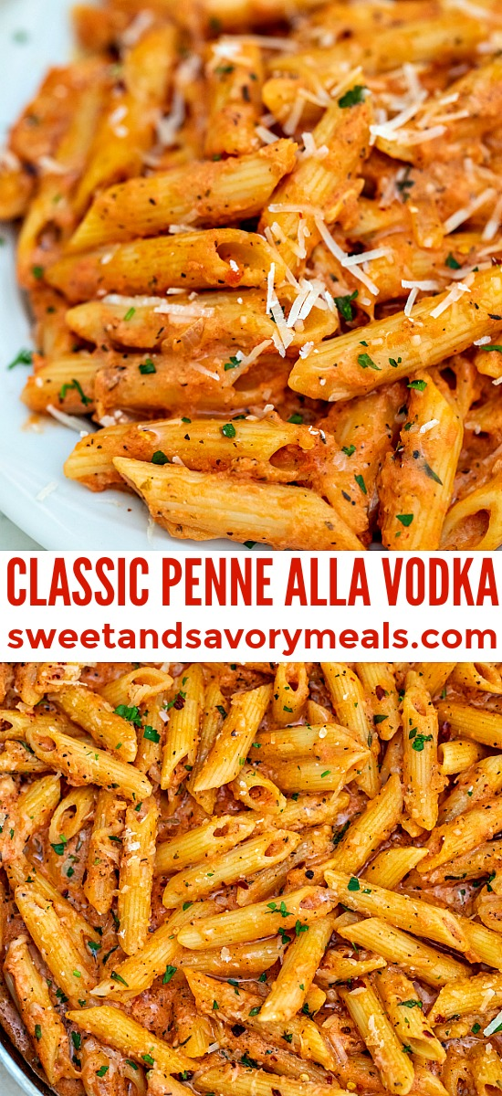 Penne alla Vodka is a delicious dish that any pasta lover will enjoy! Adding vodka to the tomato-based sauce is a nice twist to a rather simple pasta dish. #pasta #penneallavodka #pastarecipes #sweetandsavorymeals #dinnerideas