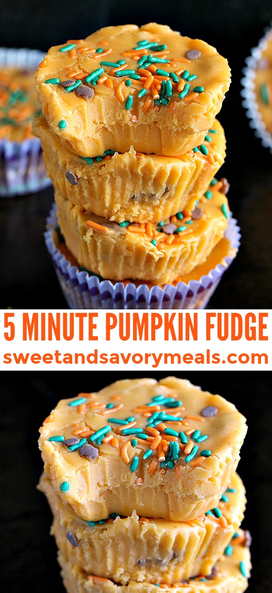 Pumpkin Fudge made in 5 minutes with only 5 ingredients! Creamy, delicious, no bake and also gluten free. #pumpkin #fudge #pumpkinfudge #thanksgiving #nobake #sweetandsavorymeals