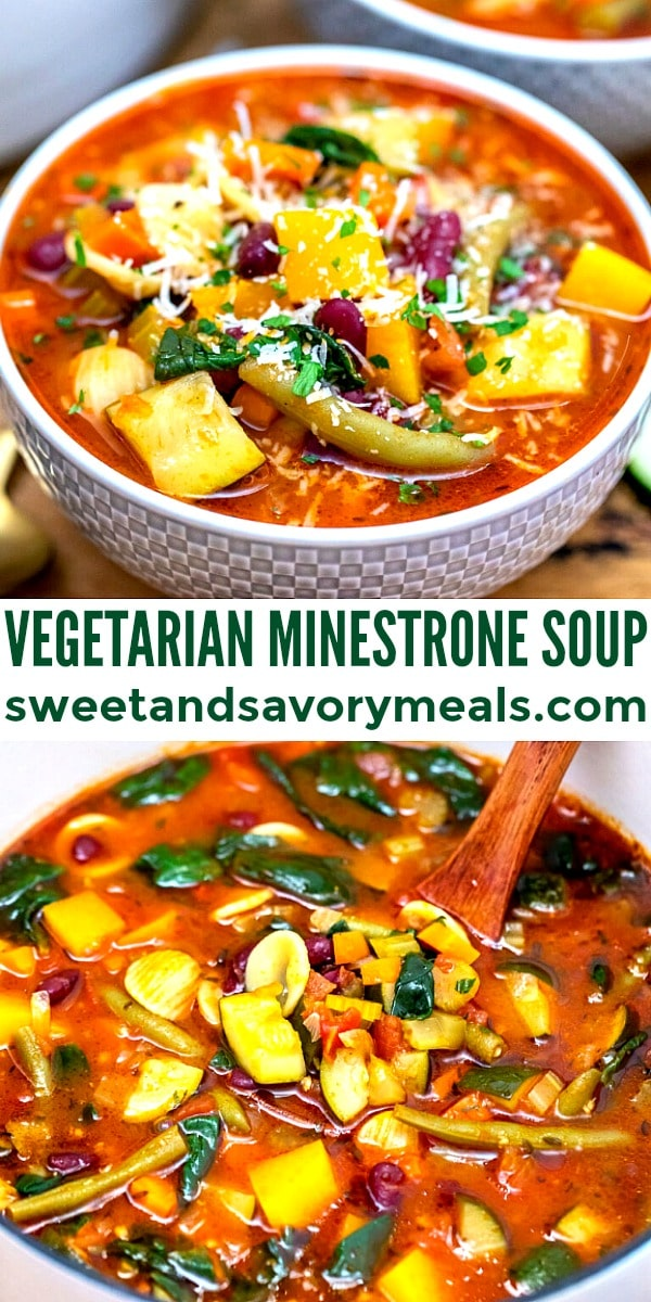 easy vegetarian minestrone soup pin