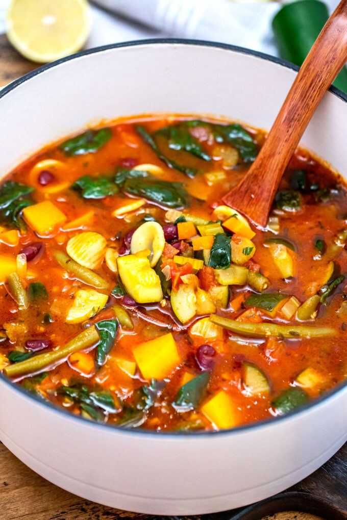 Vegetarian Minestrone Soup is your ultimate comfort food! #soup #minestronesoup #souprecipes #sweetandsavorymeals #vegetarianrecipes