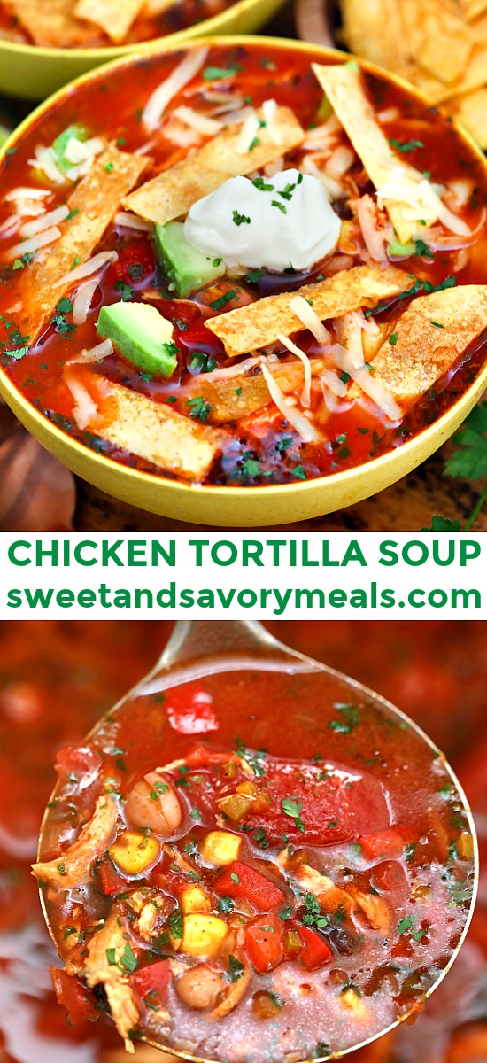 Chicken Tortilla Soup adds heat to the cold nights of winter! Let this dish warm you up this season! It is flavorful, hearty, and makes for a quick dinner! #chickenfoodrecipes #souprecipe #mexicanrecipes #sweetandsavorymeals #chickentortillasoup