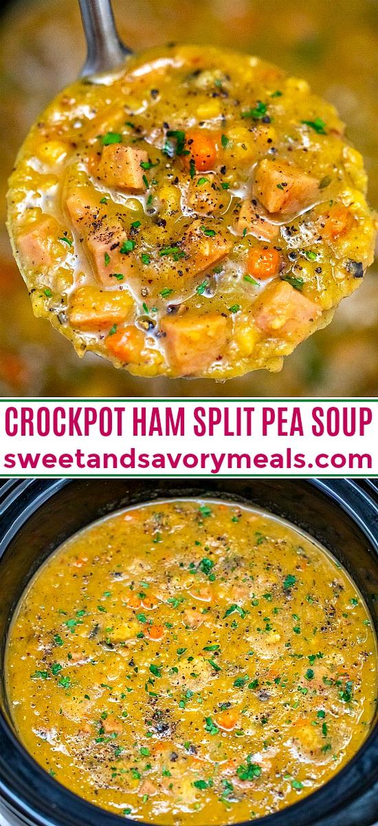 Slow Cooker Ham Split Pea Soup is comforting, warm, and healthful. #slowcookerrecipes #crockpot #splitpeasoup #hamsoup #sweetandsavorymeals #souprecipes