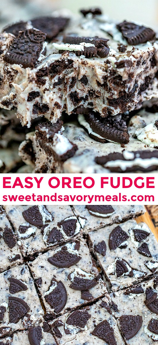 Oreo Fudge is a three-ingredient no-bake dessert that you can prepare in a whim! #fudge #oreofudge #nobakedesserts #sweetandsavorymeals #christmasrecipes