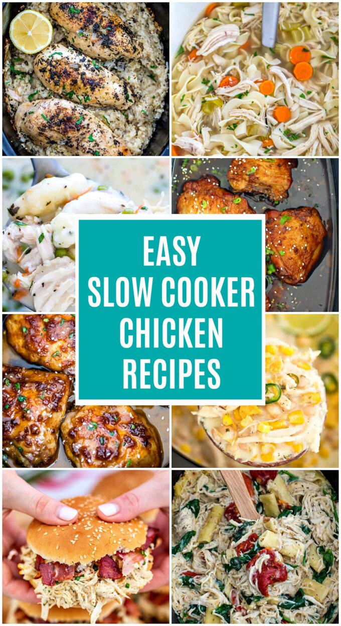 Best Crockpot Chicken Recipes. #crockpotrecipes #slowcookerrecipes #chickenfoodrecipes #chickenrecipes #roundup #sweetandsavorymeals