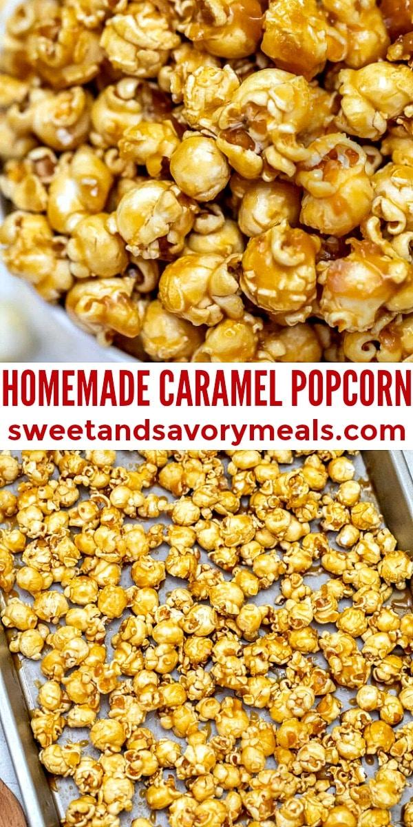 easy homemade caramel popcorns pin