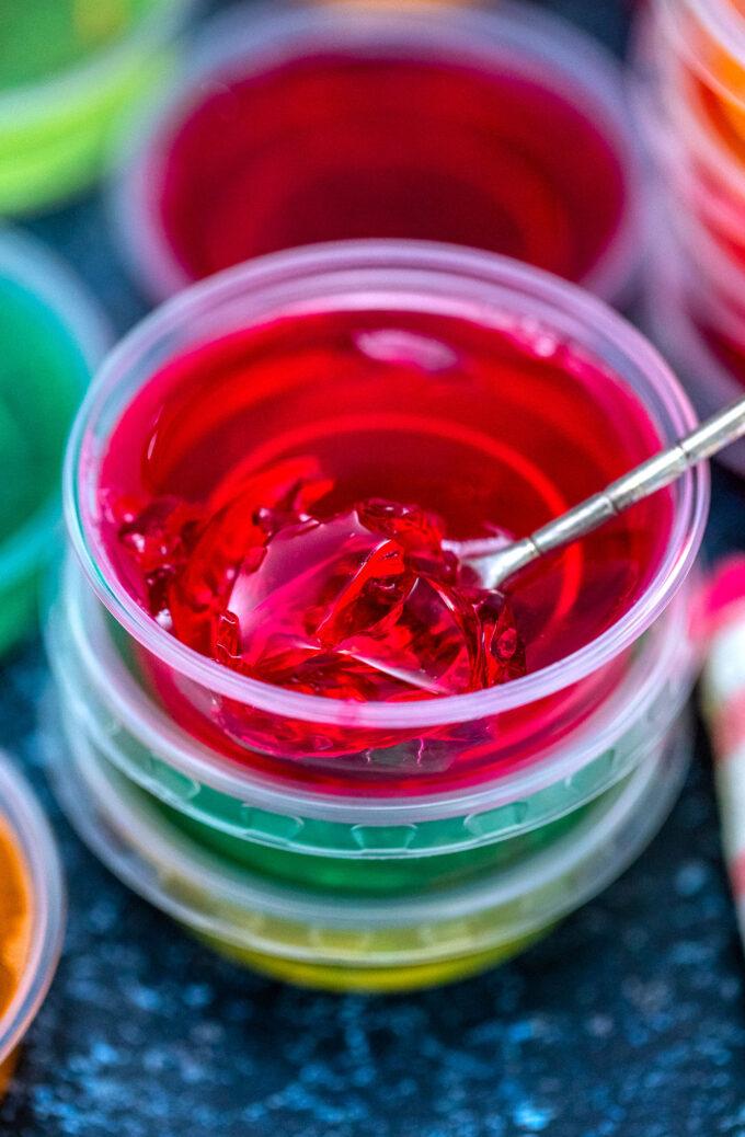Vodka jello shot in plastic cups.