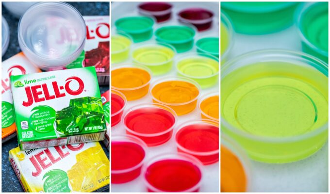 Jello Shots are colorful, and the perfect party cocktail that adults will love! These are pure fun in the form of flavorful jelly! #jello #jelloshots #partyrecipes #sweetandsavorymeals #partyfood
