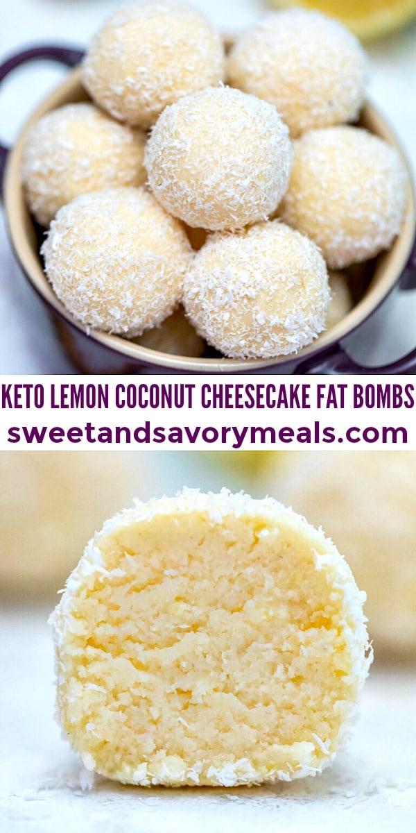 easy keto lemon coconut cheesecake fat bombs