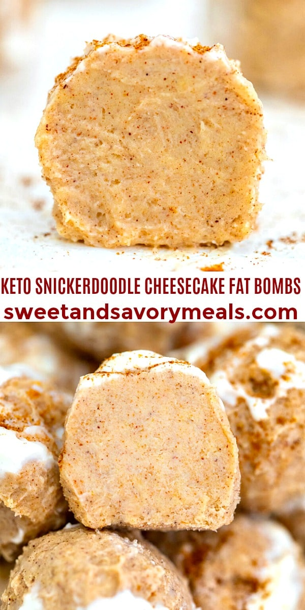 easy keto snickerdoodle cheesecake fat bombs pin