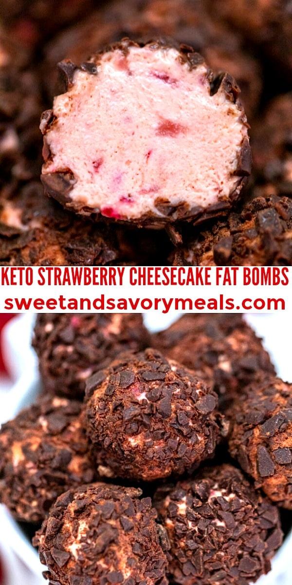 easy keto strawberry cheesecake fat bombs pin