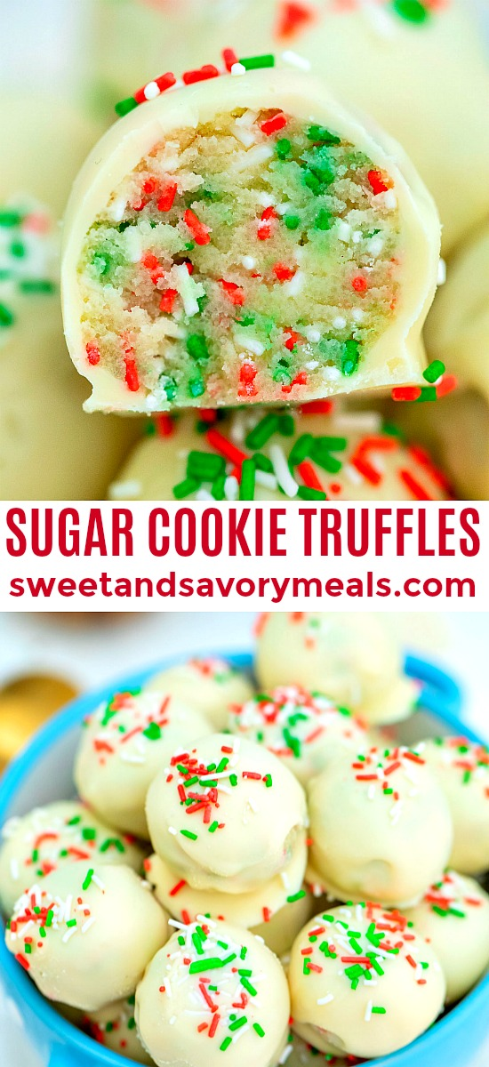Sugar Cookie Truffles are made with cake mix and coated in delicious white chocolate, topped with Christmas sprinkles. #nobakedesserts #sugarcookies #christmasrecipes #christmasdesserts #sweetandsavorymeals