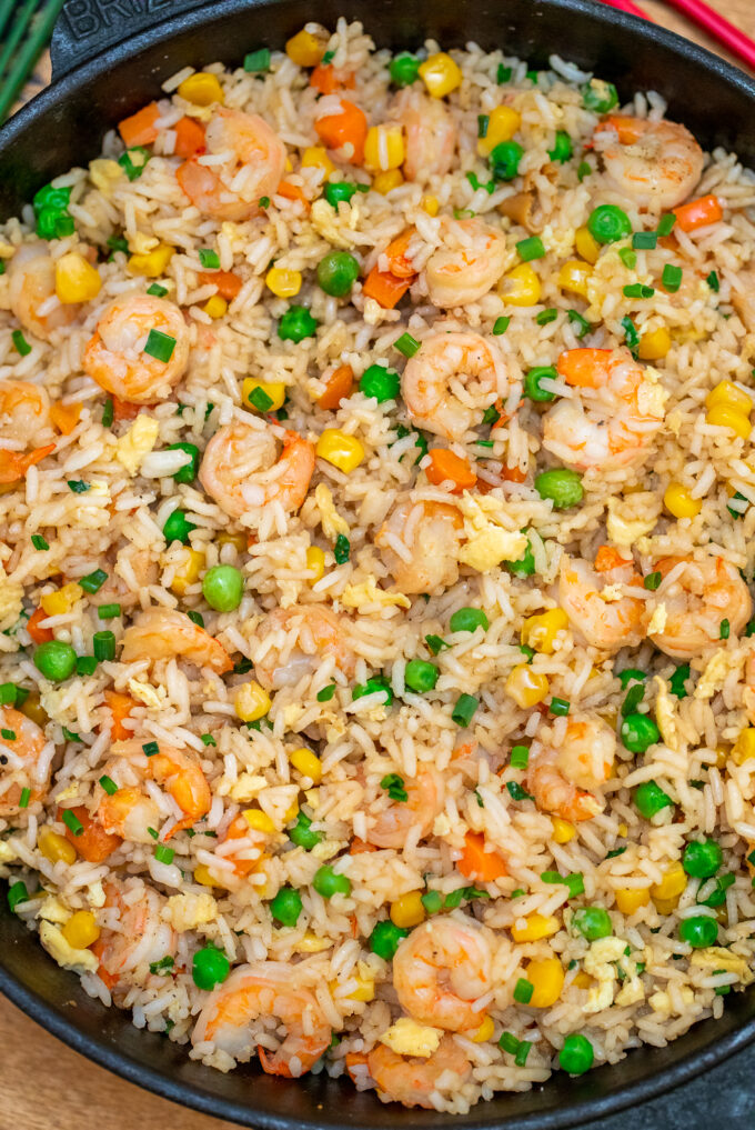 photo of shrimp fried rice with green beans corn and carrots