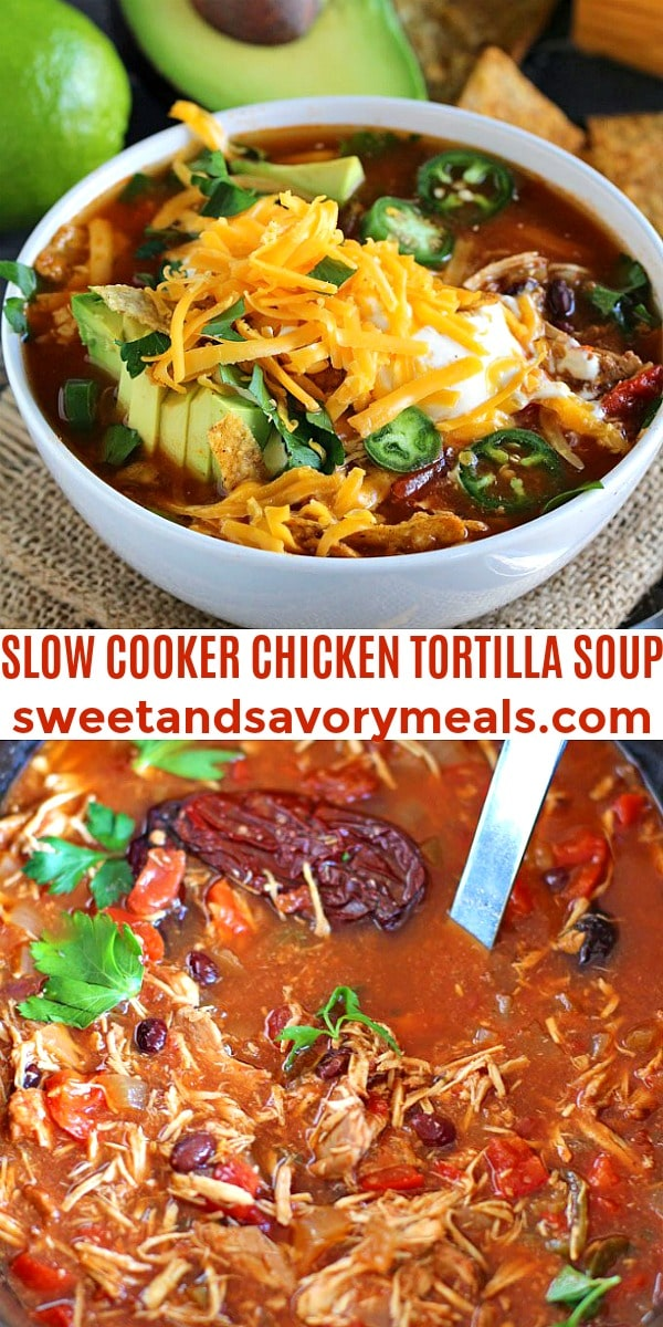 easy slow cooker chicken tortilla soup pin