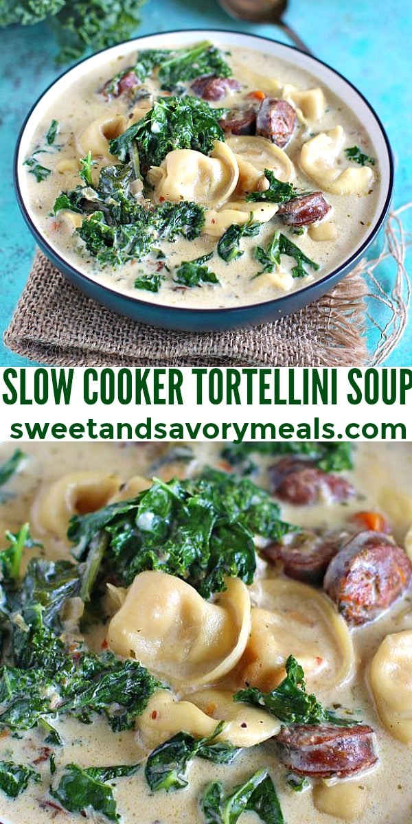easy slow cooker tortellini soup pin