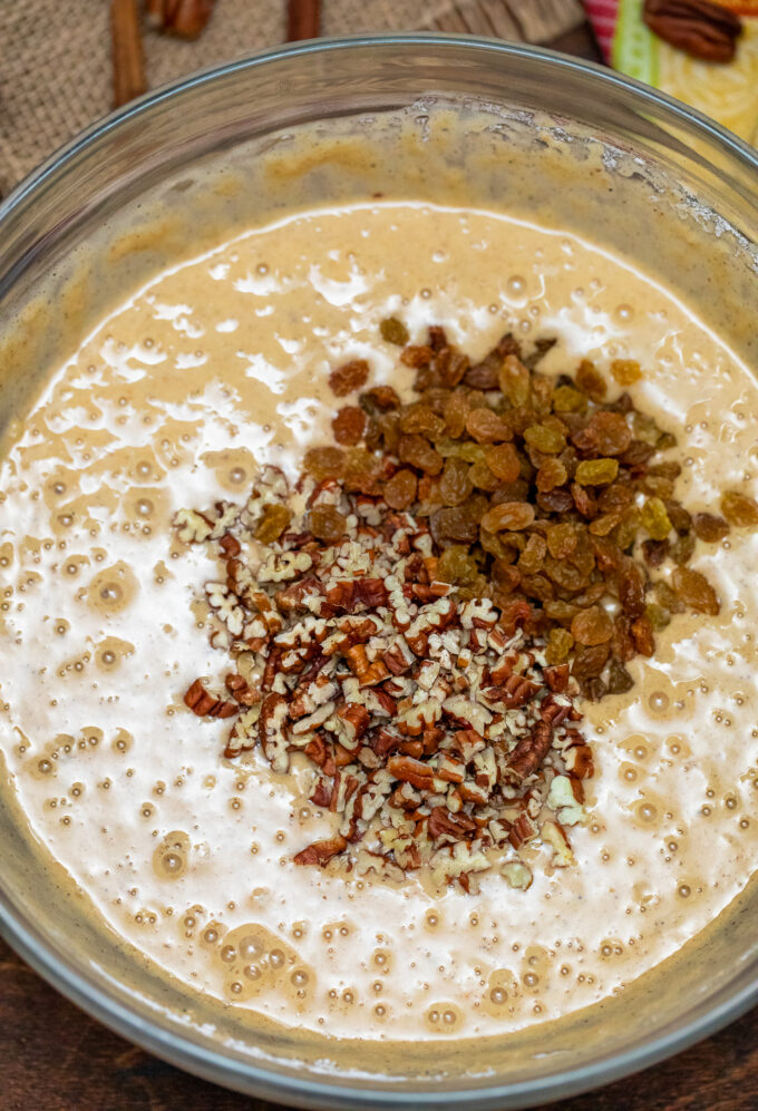 picture of batter pecans and raisins for spice cake