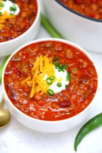 Wendy's Chili Copycat recipe is hearty, versatile and full of flavor! Adjust it to your taste and enjoy it at home with your favorite toppings! #chili #chilirecipe #wendyschili #sweetandsavorymeals #copycatrecipes