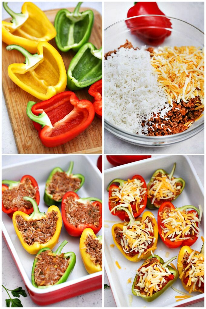 Image of how to make Mexican stuffed peppers.