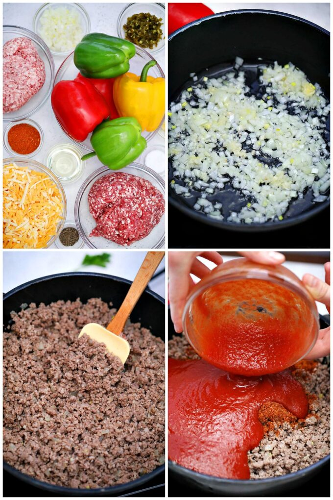 Photo of Mexican stuffed peppers ingredients.