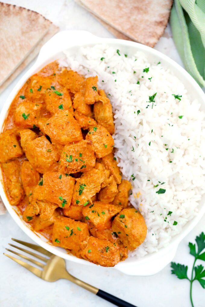 Butter Chicken is creamy, buttery, and tender! It is full of spices and never short on flavor! #butterchicken #chickenrecipes #sweetandsavorymeals #indianrecipes #chickenfoodrecipes