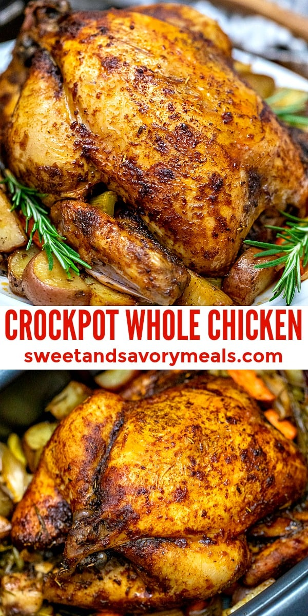 Slow Cooker whole chicken with potatoes recipe