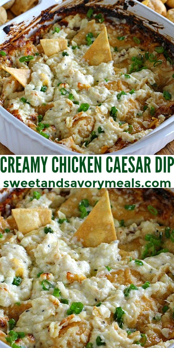 easy creamy chicken caesar dip pin