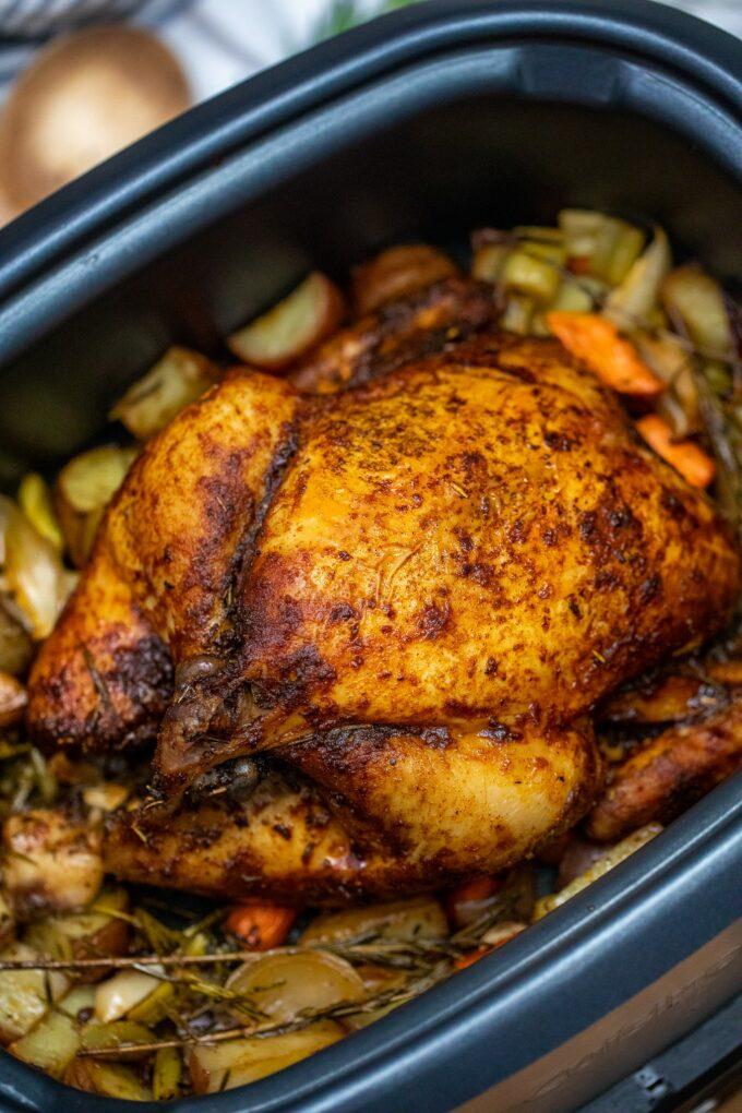 Crockpot whole chicken image.