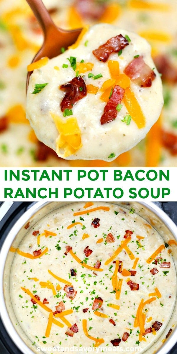 Instant Pot Bacon Ranch Potato Soup pin