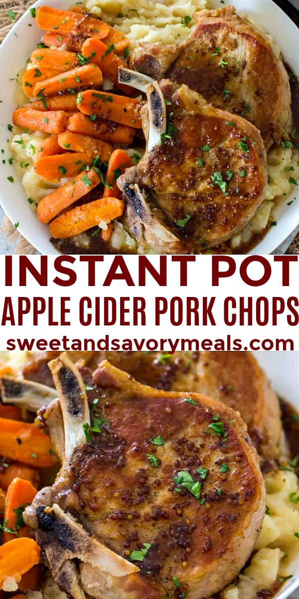 easy instant pot apple cider pork chops pin