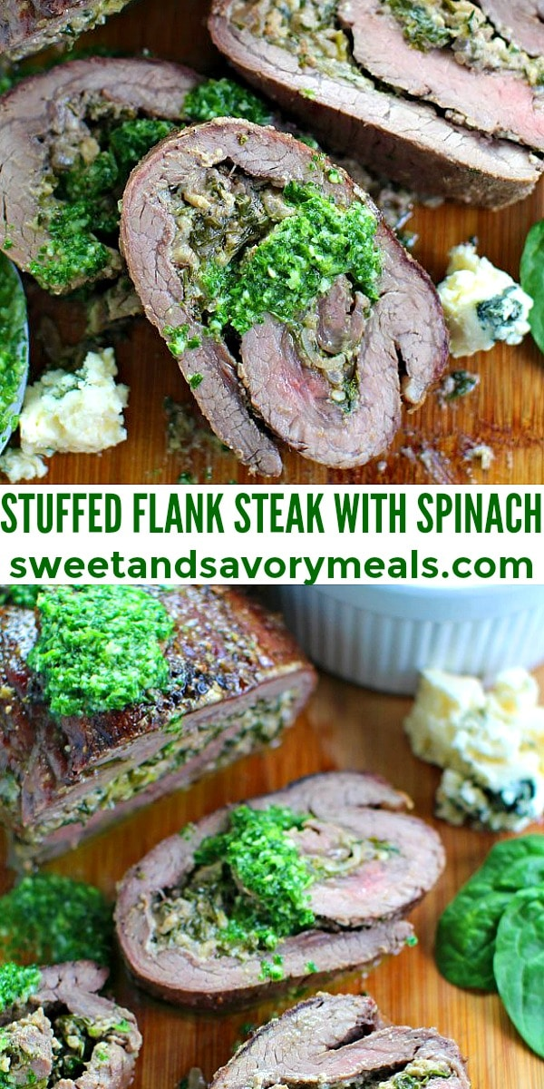 Photo of Stuffed Flank Steak with Spinach and Blue Cheese.