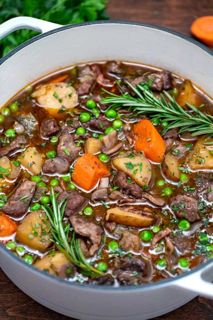 photo of lamb stew in dutch oven