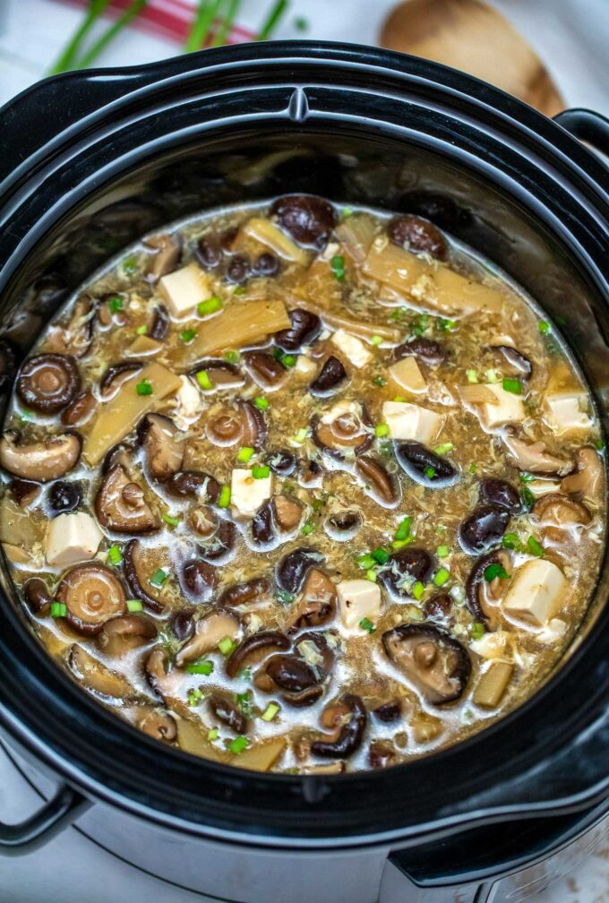 image of hot and sour soup in the slow cooker