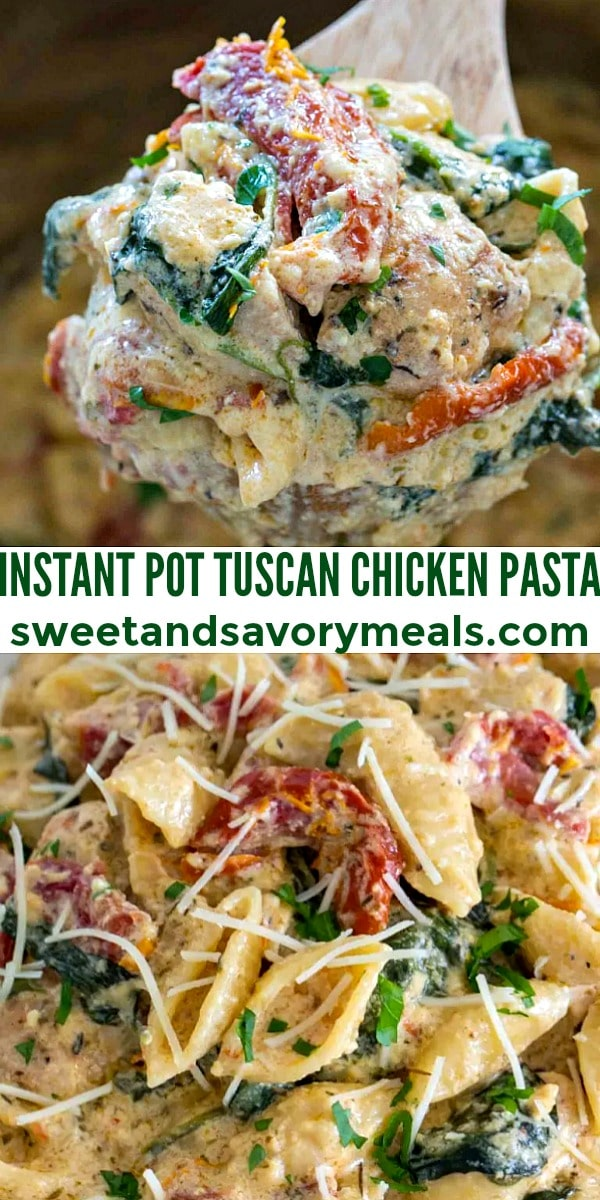 Image of instant pot tuscan chicken pasta.