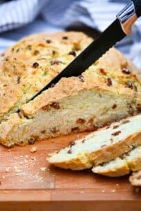photo of slicing Irish soda bread