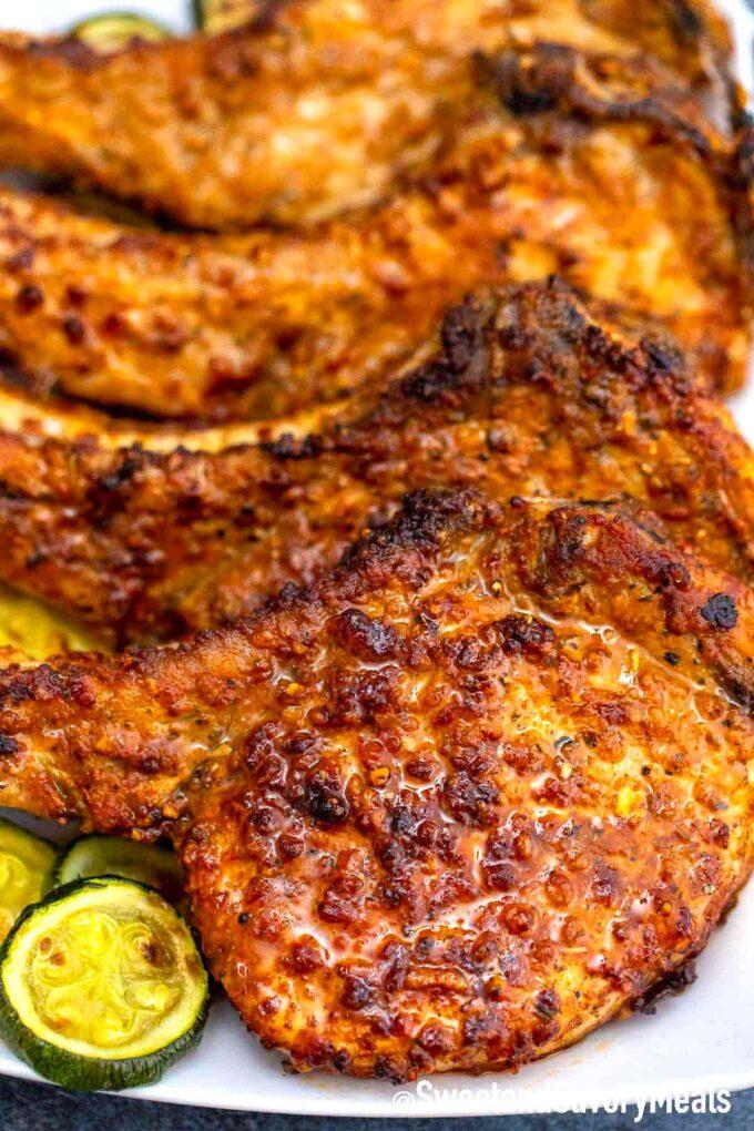air fryer pork chops on a serving platter