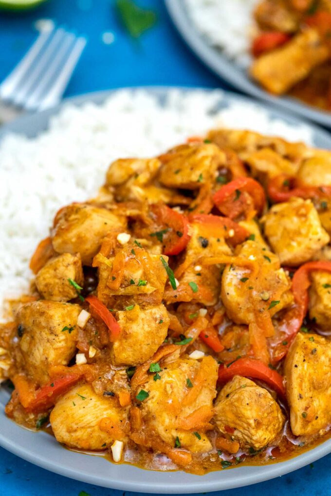 image of coconut curry chicken close