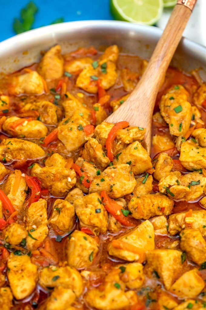image of coconut curry chicken in pan